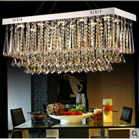 Wholesale Luxury Lighting Fixtures - new design rectangular crystal chandeliers modern luminare LED light fixtures AC110-240V dinning room luxury crystal lamps