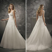 Wholesale Divina Wedding Dress - Lace Open Back Wedding Dresses Sexy V Neck White Applique Beaded Sweep Train Garden Church Bridal Gowns Elegant Plus Size Divina Sposa