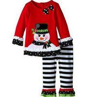 Wholesale Browning Deer Shirt - Latest kids Christmas Xmas New year Pajamas Long-Sleeve T-Shirt+pant 2pcs set Children outfits suit cute deer snowman gift priting