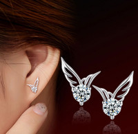 Wholesale Wholesale Silver Jewelry Korea - Women Angel Wings Stud Earrings Fashion South Korea Bohemian White Gold Overlay Ear Jewelry 925-Sterling-Silver Austrian Crystal Angel Wing