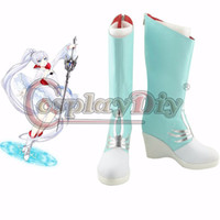 Compra Stivali Carnevaleschi-Scarpe Cosplay All'ingrosso-Nuovo RWBY Boots su ordine RWBY Weiss Schnee Cosplay Stivali Donne Halloween Carnival Party