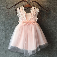 Wholesale Candy Red Flowers - New 2016 Children Clothing Summer Lace Dress Tulle Party Dressy Candy Color Fairy Girl Gauze Flower Tulle Girls Dresses A5244