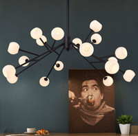 Wholesale North Europe Lighting - Newly design North Europe LED creative modo DNA pendant light 16 18 Globes glass lampshade chandelier LED pendant lamp faster shipping