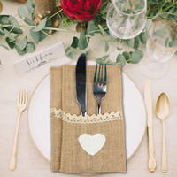 Wholesale 50pcs Burlap Lace Tableware Pouch Packaging Fork Knife Vintage Jute Burlap Cutlery Pocket Wedding Table Decorations Party Supplies