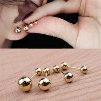 Wholesale Titanium Solid Jewelry - Top quality Popular 316L Titanium steel fashion jewelry Lady girl Solid 3 4 5 6mm bead women stud earring jewelry PS5620