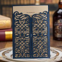 Wholesale Laser Cut Wedding Invitations Wholesale - Dark Blue Laser Cut Pattern Gold Sheet Wedding Invitations Cards, By Wishmade, CW5102