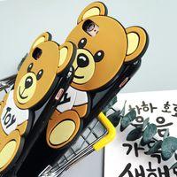 capas para telefone com ursinho de pelúcia venda por atacado-Bonito dos desenhos animados 3d brinquedo urso case capa para apple iphone 6 6s Novo caso de silicone 6 series macio teddy case para o telefone
