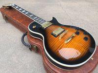reliure guitare érable achat en gros de-Personnalisé 1959 Flame Maple Top Amber Sunburst Guitare électrique 5 plis reliure de corps Touche palissandre Trapézoïde blanc nacre