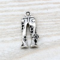 Quente! 100Pcs Ancient Silver Alloy Jeans Floral Flower Hippie Pants Charm Pendant 13 * 28mm DIY Jóias A-113