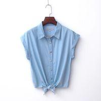 Wholesale Small Waistcoat - Wholesale-2016 new summer bow thin short-sleeved denim shirt knotted Shirt Small waistcoat