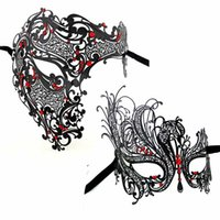 Wholesale Man Sexy Christmas - Party Masks Sexy Face Mask Black Gold Silver Red Skeleton Men Woman Scary Venetian Masquerade Half Skull Metal Halloween Costume Party Mask