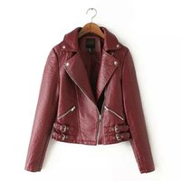 Wholesale Xy Black - Wholesale-Winter Women's Jacket Large lapel hem belt buckle motorcycle washing PU leather Coat Women XY YD-20