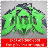 Wholesale Zx6r 636 Paint - Sportbike Fairing Kits For kawasaki Ninja 2007 2008 ZX6R 636 07-08 ZX 6R Ninja 07 08 ZX-6R Full Green Painting ABS Fairings Bodywork