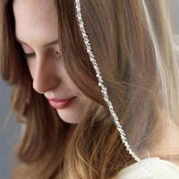 spitze fingerspitze schleier eine schicht großhandel-Neue meistverkaufte One Layer Fingertip L Länge Schleier mit schönen Tüll Perlen Perlen Brautschleier Brautaccessoires