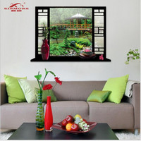 Wholesale Art For Large Wall Spaces - Extra Large Landscape 3d scenery Wall Stickers Home Decor Living Room Space Diy Mural Art Decals Removable Wall Sticker Freeshiping