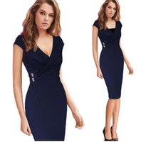 Wholesale Elegant Slim Office Dress - Vfemage Women Elegant Ruched Cross Draped Vintage Pinup Slim Wear To Work Office Business Casual Party Bodycon Pencil Dress