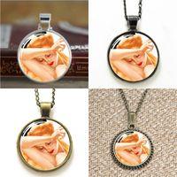 collar de perlas colgante al por mayor-10 unids vintage Pin Up Girl ASD11 cristal Dome colgante collar llavero marcador mancuerna pulsera pendiente