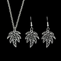 Wholesale Earring Coconut - Luxury Wedding Jewelry sets Silver Color Chain With Coconut Tree Pattern Pendant Necklace and Drop Earrings For Women