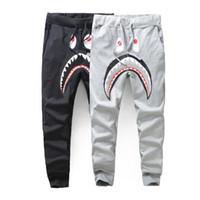 Wholesale Men Harem Long Trousers - Men's Black Grey Shark Pant Trousers Fashion WGM Harem Pants Autumn Winter Fleece Sportswear Long Trousers Jogger Running Sweatpant