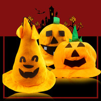 accesorios de escenario de oro al por mayor-Gorras de sombreros de calabaza de Halloween de oro Game Party Dancer Stage Performing Props adornos de accesorios accesorios de apoyo de miedo, 3 elementos que puede elegir