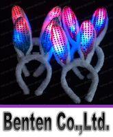 Wholesale Raving Rabbits - Novelty Flash LED Hair Bands Bow Light Up Toys Prom Dress Up Rave Toy Flashing Rabbit Ears Headband For Halloween Xmas Party Supplies LLFA