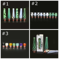Wholesale Long Vases Wholesale - Pyrex Glass Agate Stainless Steel 510 SS Drip Tips Beautiful Vase Shape Colorful Mouthpiece Long Short Drip Tip for RDA Atomizer Tank Vapor