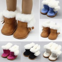 Wholesale Zapf Dolls - Plush Winter Snow Boots For 43cm Baby Born Zapf Dolls As For 18 Inch Girl Dolls Mini Shoes For Christmas Gift