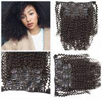 siyah dalgalı klip uzantıları toptan satış-Sıcak satış! 7 adet Kolay Uzatma Saç Uzatma Doğal siyah Uzun Kıvırcık / Dalgalı saç 120g 12-26 inç G-EASY