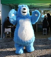 Wholesale Christmas Party Outfit Characters - Blue Bear Mascot Costumes Cartoon Character Christmas Birthday Party Fancy Dress Carnival Outfit