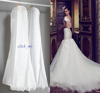 Wholesale Garment Bags For Travel - 2015 Wedding Dress Gown Bags White Dust Bag Travel Storage Dust Covers Bridal Accessories For Brid Garment Cover Travel Storage Dust Covers