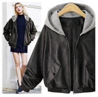 Wholesale Women Genuine Leather Jacket Large - Hot sale Fall new large size women fat MM plus fertilizer to increase the hooded loose leather jacket
