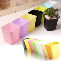 Wholesale Plastic Planting Trays Wholesale - 14pcs set Free shipping Flower pots with Tray plastic creative small square pots Garden Supplies multicolor plant grow