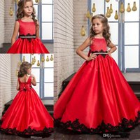 line square neck floor length applique 2018 - 2017 New Red Cute Flower Girl Dresses Beaded Sequins Bow Black Lace Appliques A-line Kids Formal Wear Square Neck Girl's Pageant Dresses