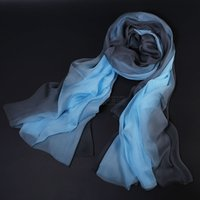 Wholesale brown gradient scarves for sale - 100 pure silk scarf gradient color long and wide scarves