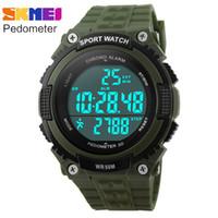 Wholesale Diver Watch Army - pedometer running watches men boy women sport digital LED watch 50M waterproof army green black rubber band clock SKMEI brand