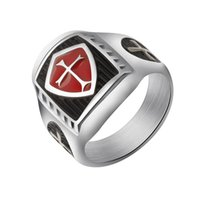 Wholesale Mens Titanium Cross Rings - Wholesale 10Pcs lot Top Fashion Vintage Jewelry Titanium Steel Medieval Red Armor Shield Knight Templar Cross Mens Rings Size 8-11