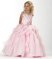 Wholesale Sweetheart Neckline Flower Girl Dresses - 2016 New Girl's Pageant Dresses Dazzling Beaded Bodice With Sweetheart Neckline Organza Ball Gown Birthday Party Kids Flower Dresses