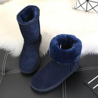 Wholesale White Fur High Heel Boots - New fashion 2018 high quality WGG children's classic high boot women boots snow boots winter boots leather boot EUR22--44 free shipping