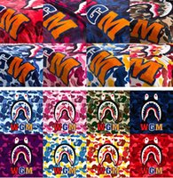 Wholesale super soft bedding - new ape-man ,Shark Printed Throw Blankets Manta Bathing aape Blanket super Soft Fleece Blankets on the bed Sofa Blanket 130*150cm