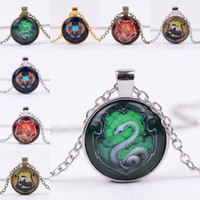 Wholesale Eagle Necklaces Women - 12 types Harry Hogwarts necklace snake lion eagle badge Glass time gemstone Cabochon pendants necklaces women fans jewelry 161052