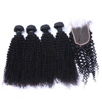 Wholesale Tangle Free Curly Hair Weave - 7A High Quality Brazilian Indian Malaysian Peruvian Kinky Curly with 4*4 Lace closure No Tangle No Shedding Soft Full Free Shipping Fee DHL