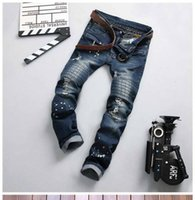 Wholesale Cotton Collapse - New arrival!New male Shi Halun big European and American style embroidery five-pointed star cowboy crotch pants collapse Men