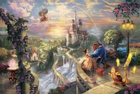 Wholesale Original Paintings Impressionist Landscapes - Framed Thomas Kinkade Beauty and the Beast Falling in Love, HD Art Print Original Oil Painting Canvas high quality Home Wall Deco Multi Size