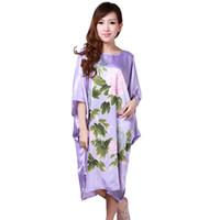 bata camisera de seda para mujer. al por mayor-Al por mayor-venta caliente verano chino tradicional mujeres camisón de seda Rayón bata de baño Kimono Yukata vestido de la flor más el tamaño S0110