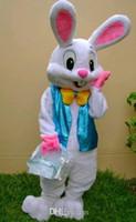 mavi tavşan maskotu toptan satış-Mavi PROFESYONEL PASKALYA BUNNY MASKOT KOSTÜM Bugs Tavşan Hare Yetişkin Fantezi Elbise