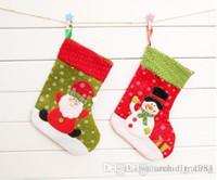 calcetines decorados al por mayor-2016 Hot s Christmas Gift Socks Decora 25cm de altura Dos estilos Santa Claus Snowman Patch Snow Gift Stockings (12pcs / lot)