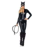 Wholesale Latex Catsuit Sold - M-XXL Hot Selling Sexy Black Latex PVC Bodysuit Catwoman Faux Leather Catsuit Erotic Wet Look Bodycon Fetish Jumpsuit Costume