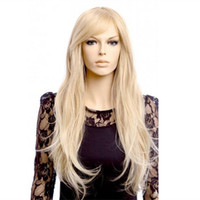Wholesale Cheap Blonde Synthetic Wigs Curly - WoodFestival 70cm long blonde wig womens natural cheap curly wigs with bangs heat resistant fiber wig synthetic hair wigs natural wave