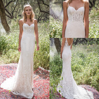 Wholesale dresses white for party beach for sale - Group buy vestido de novia New Elegant Spaghetti Strap Lace Wedding Dresses Sheath Sweetheart Sexy Backless Chapel Train Dresses For Wedding Party