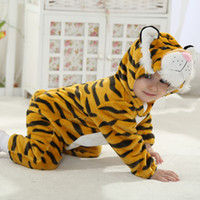 Wholesale 3t Boy Costume - New Year Newborn Infant Animal Romper Baby Costume Hooded Flannel Infant Romper Toddler Jumpsuit Clothes Boy Girl Baby Animal Romper Suit